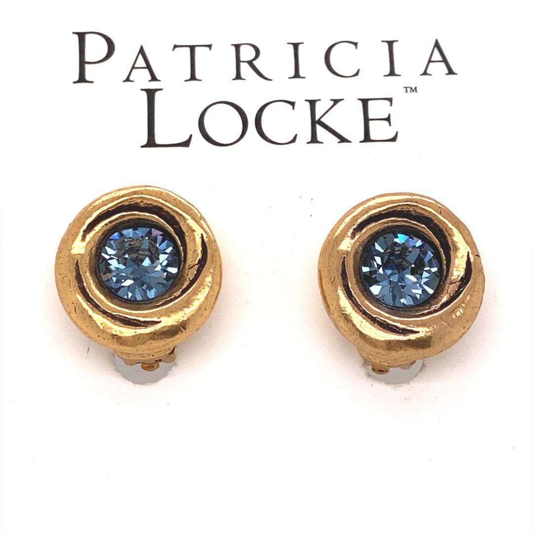 Amala Clip Earrings in Gold, Denim