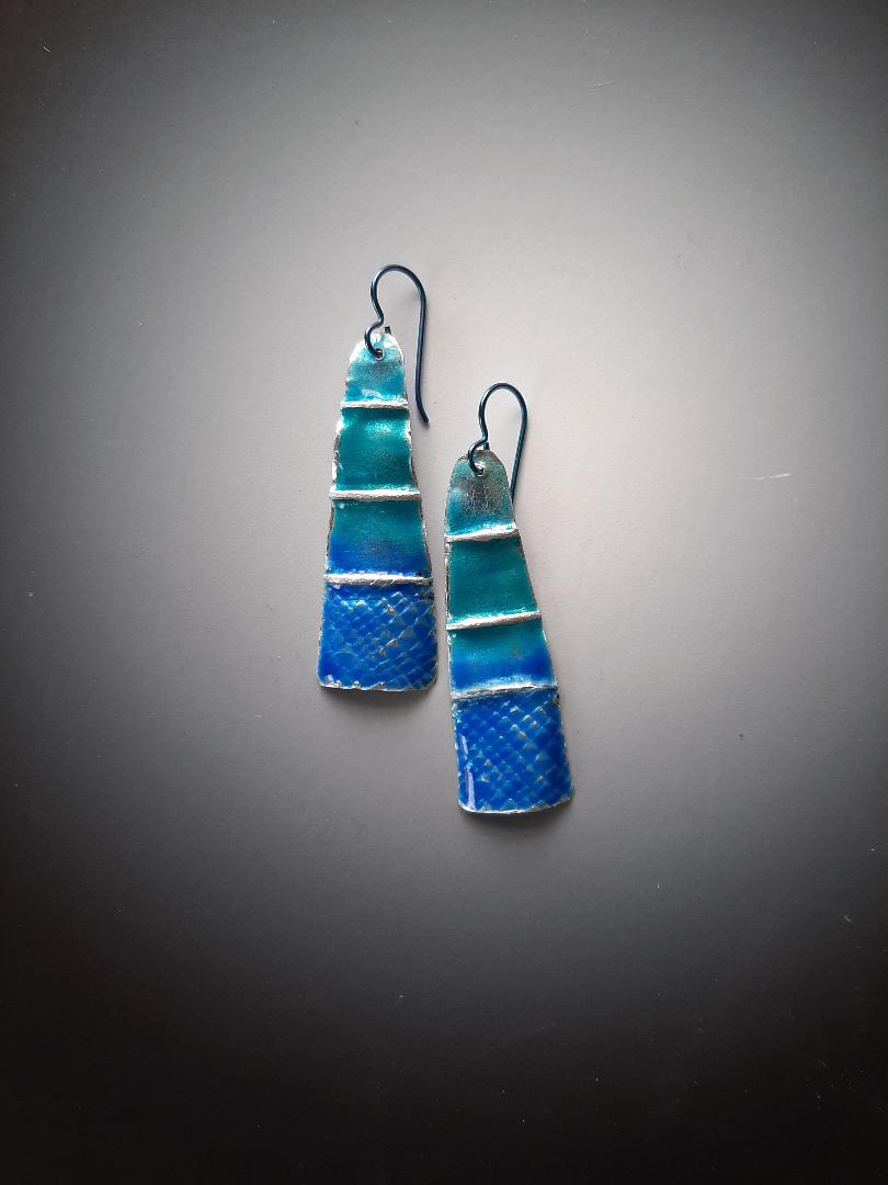 Long Folded Blue-Green Silver Earrings with Gold-filled Hooks