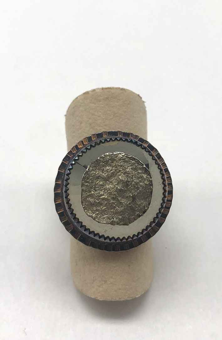 Sterling and Natural Surface Pyrite Ring - Size 7