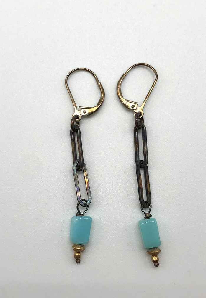 2 Link Blue Peruvian Opal Earrings