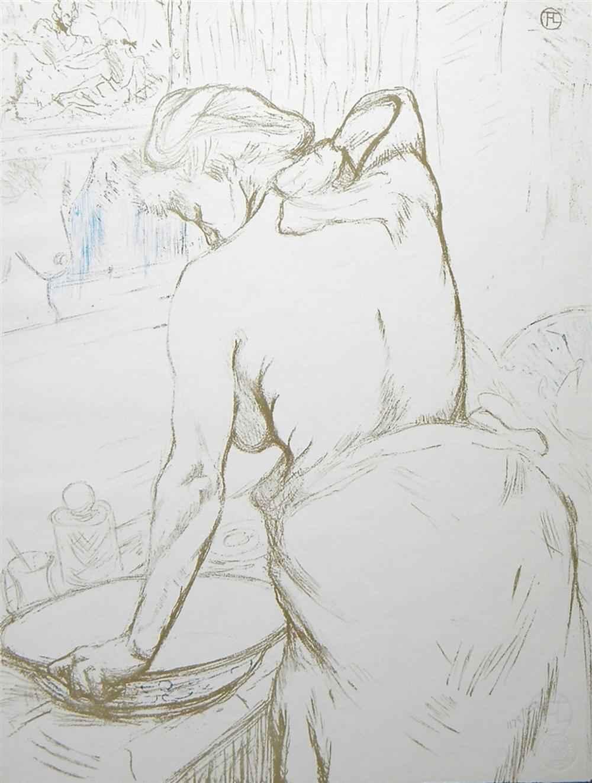 """""""Femme Qui Se Lave"""" (... by  Henri de Toulouse Lautrec - Masterpiece Online"""