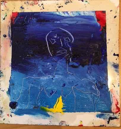 Blue figure yellow ch... by  James Havard - Masterpiece Online