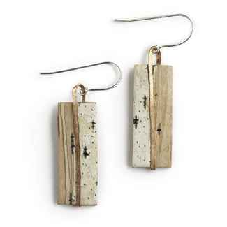 Classic Earrings Birch Bark, and Copper on Sterling Wires, 1 3/8