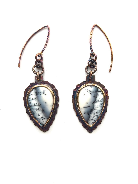 Dentritic Opal Earrings in Sterling Silver