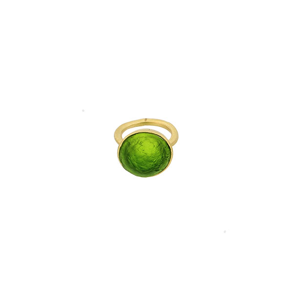 Sol-Single Stone Ring in Leaf Green Size 5 1/2