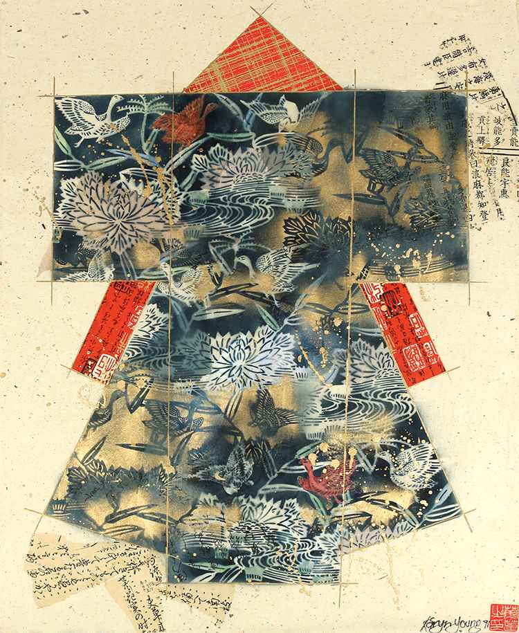 Blue/Red/Tan Kimono-O... by  Karyn Young - Masterpiece Online