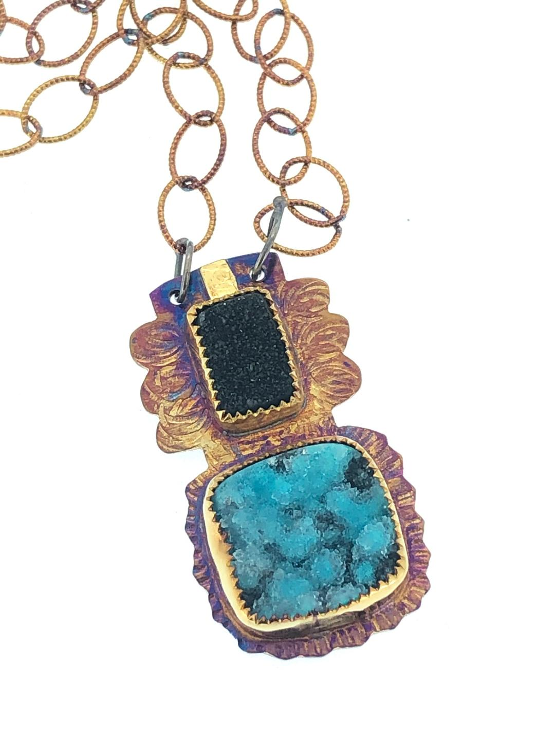 Blue and Black Necklace in s/s,22k gold, black quartz druzy and chrysocolla druzy.  Chain 21