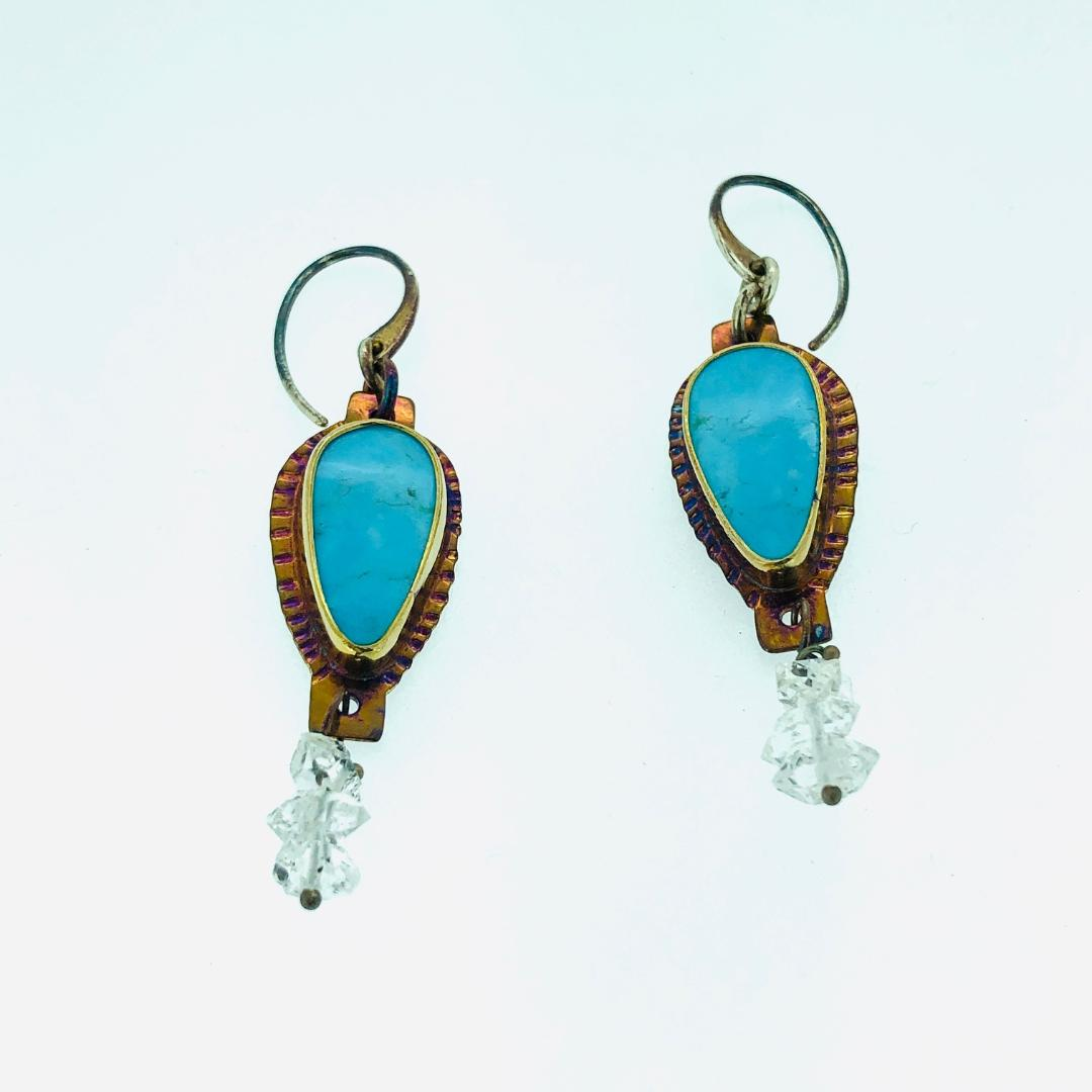 Kingman Mine Turquoise Earrings, Herkimer