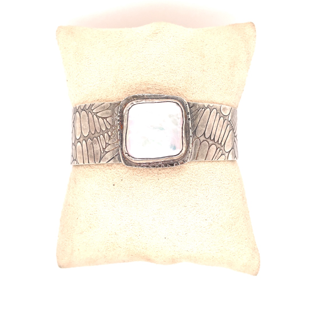 Textured Square Coin Pearl and Sterling Silver Cuff