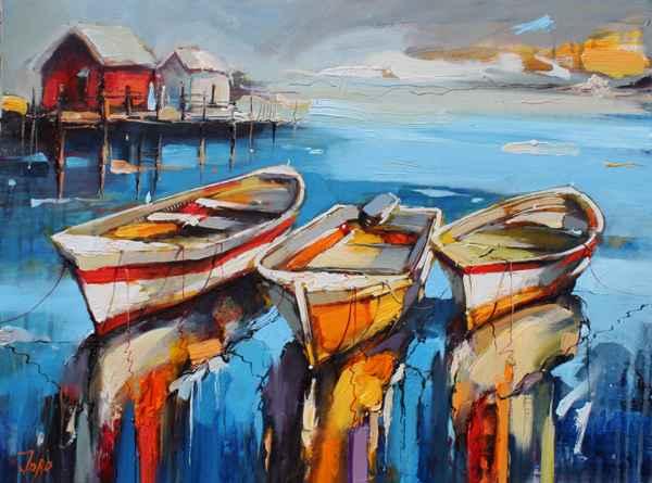 Fishing Boats by  Georgi Kolarov - Masterpiece Online