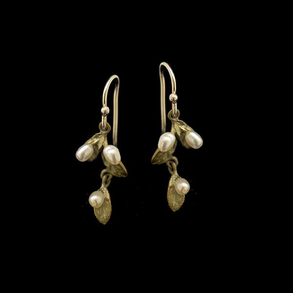 Petite Leaf Drop Dangle Wire Earrings