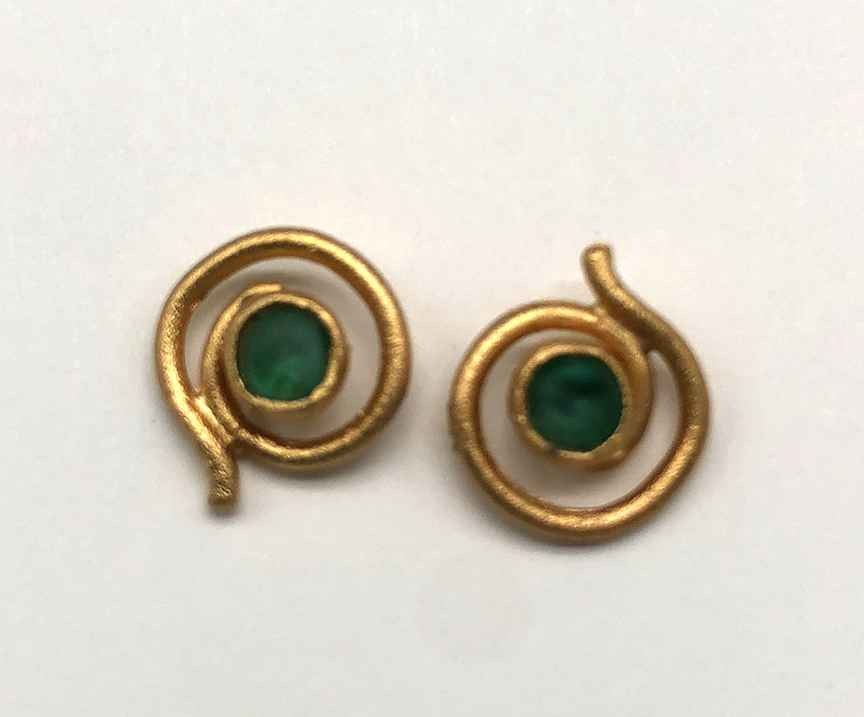 Small Swirl Post Earring in Teal 1/4