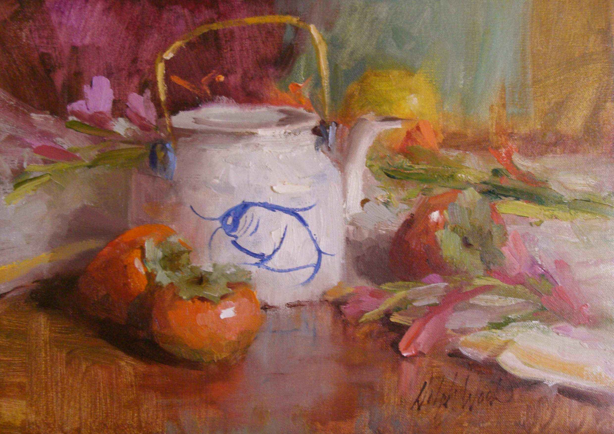 Teapot and Persimmons by  Mary Dolph Wood - Masterpiece Online