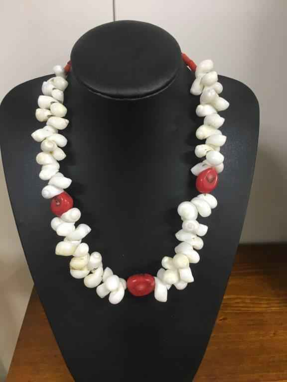 Red Coral/Shell Neckl... by Mrs Larissa Hale - Masterpiece Online