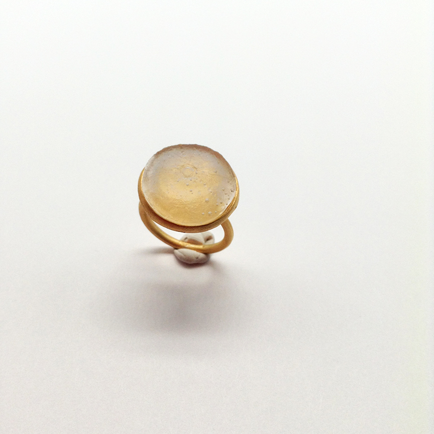 Adjustable Sea Urchin Ring in Frosted Clear