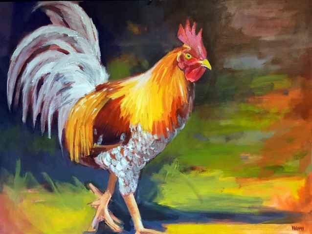 Rooster 30x40 by Mrs. Vishni Gopwani - Masterpiece Online