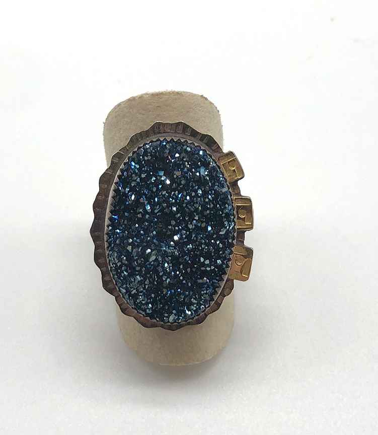 Sterling, 22k Gold and Blue Druzy Ring Size 9