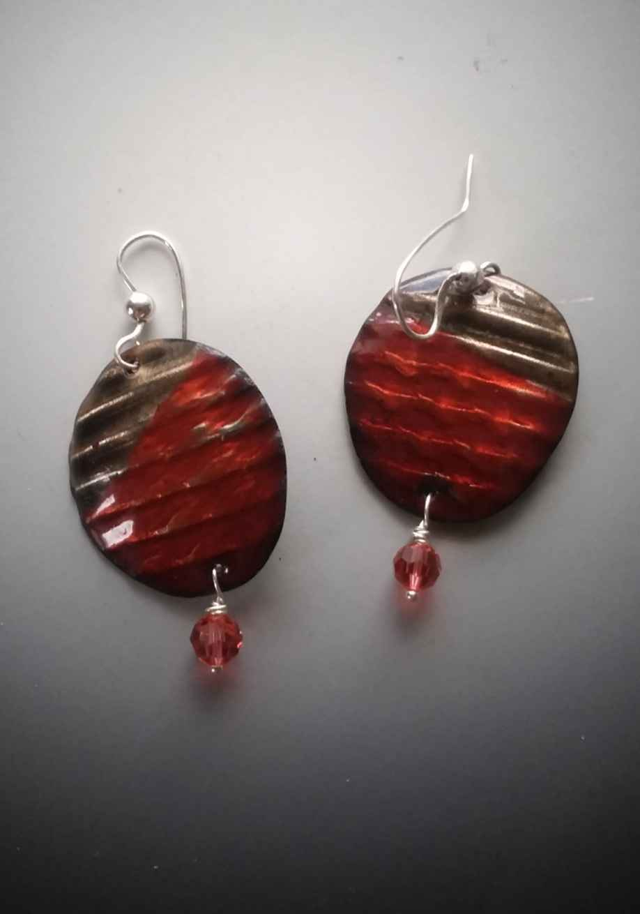 Corrigated Copper Red Earrings