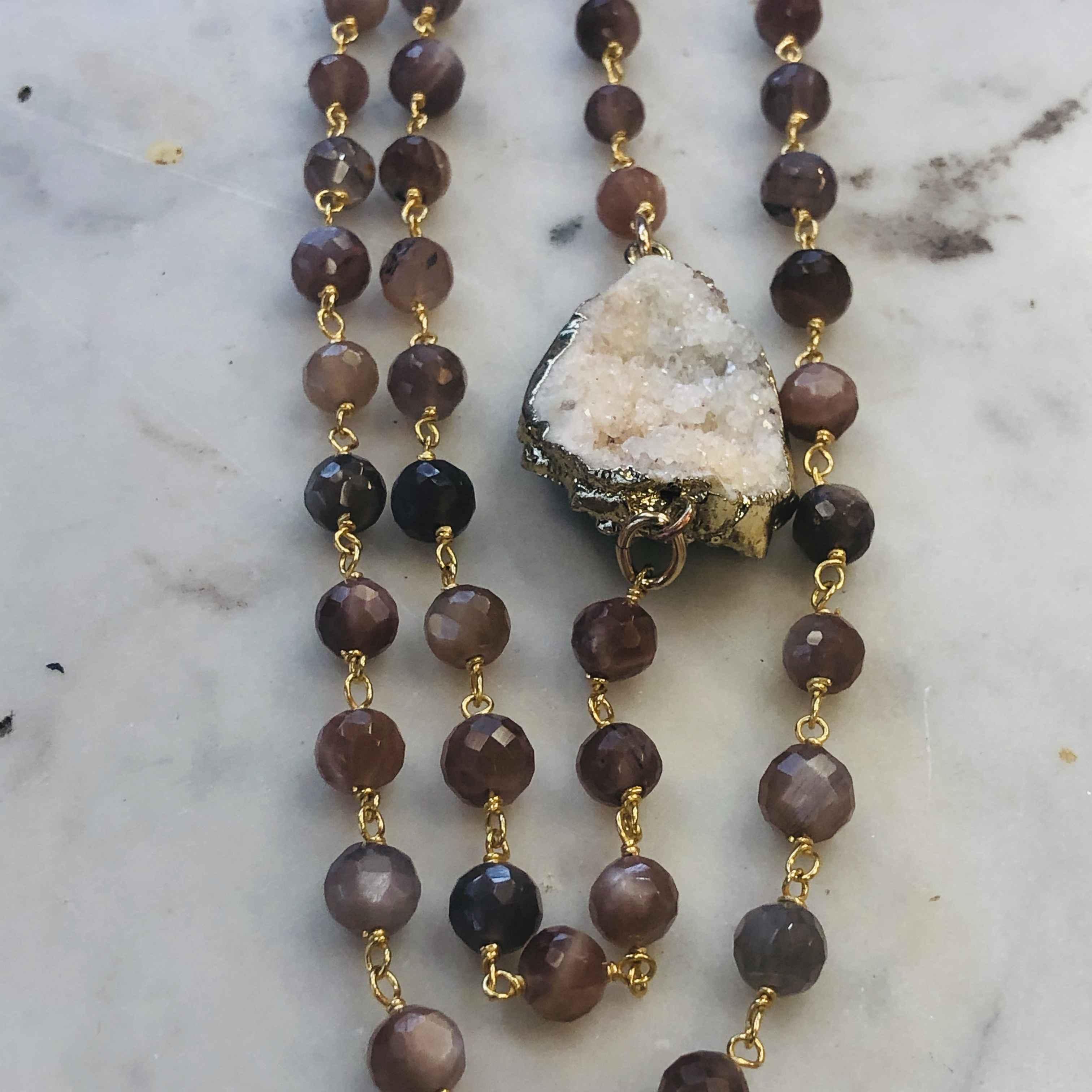 Chocolate Druzy and Moonstones Necklace 34