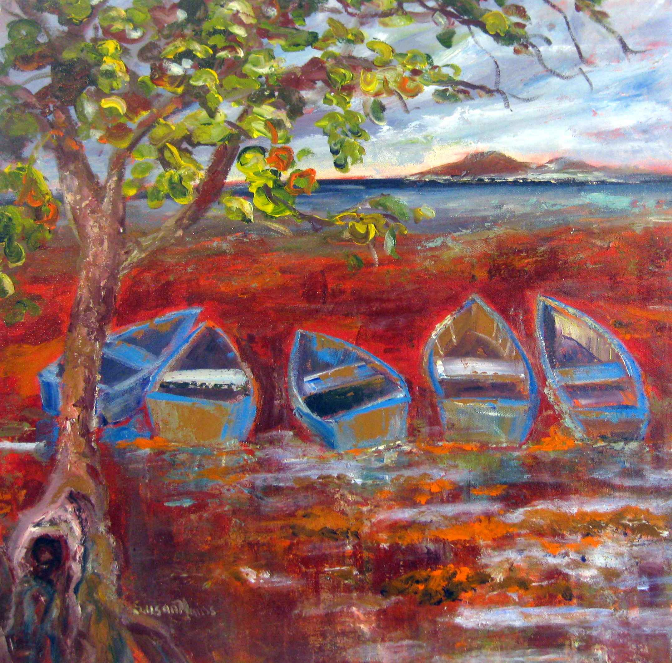 Blue Boats Beached by Mrs. Susan Mains - Masterpiece Online