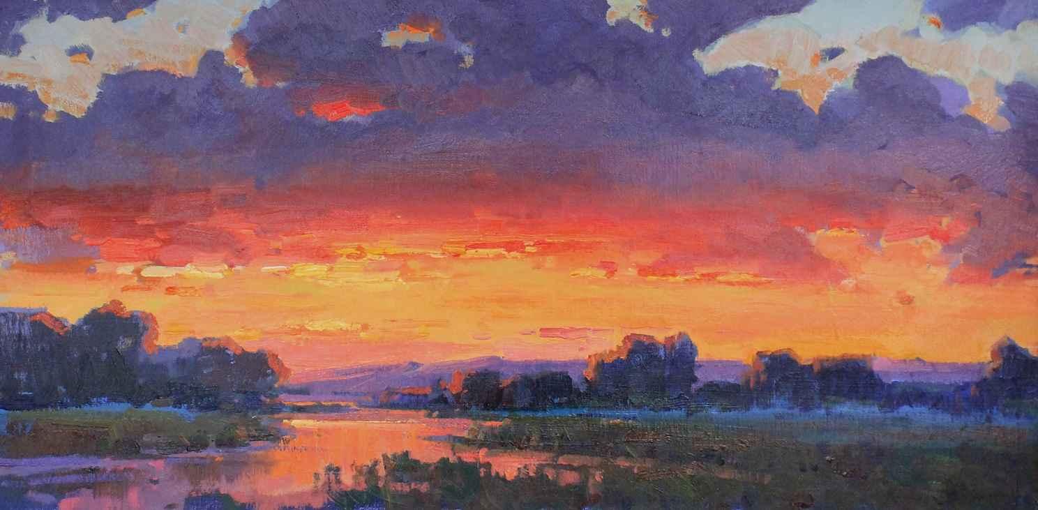 Summer Sunset 18 x 36  by  Ovanes Berberian