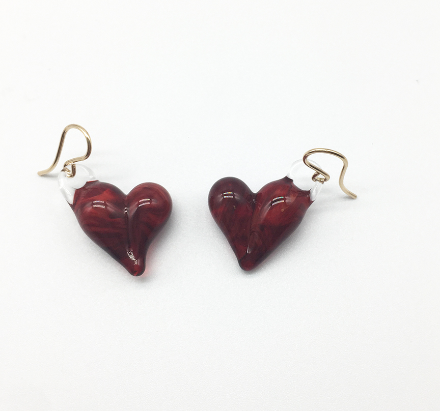 Ruby Hearts Earrings on Gold Filled Wires