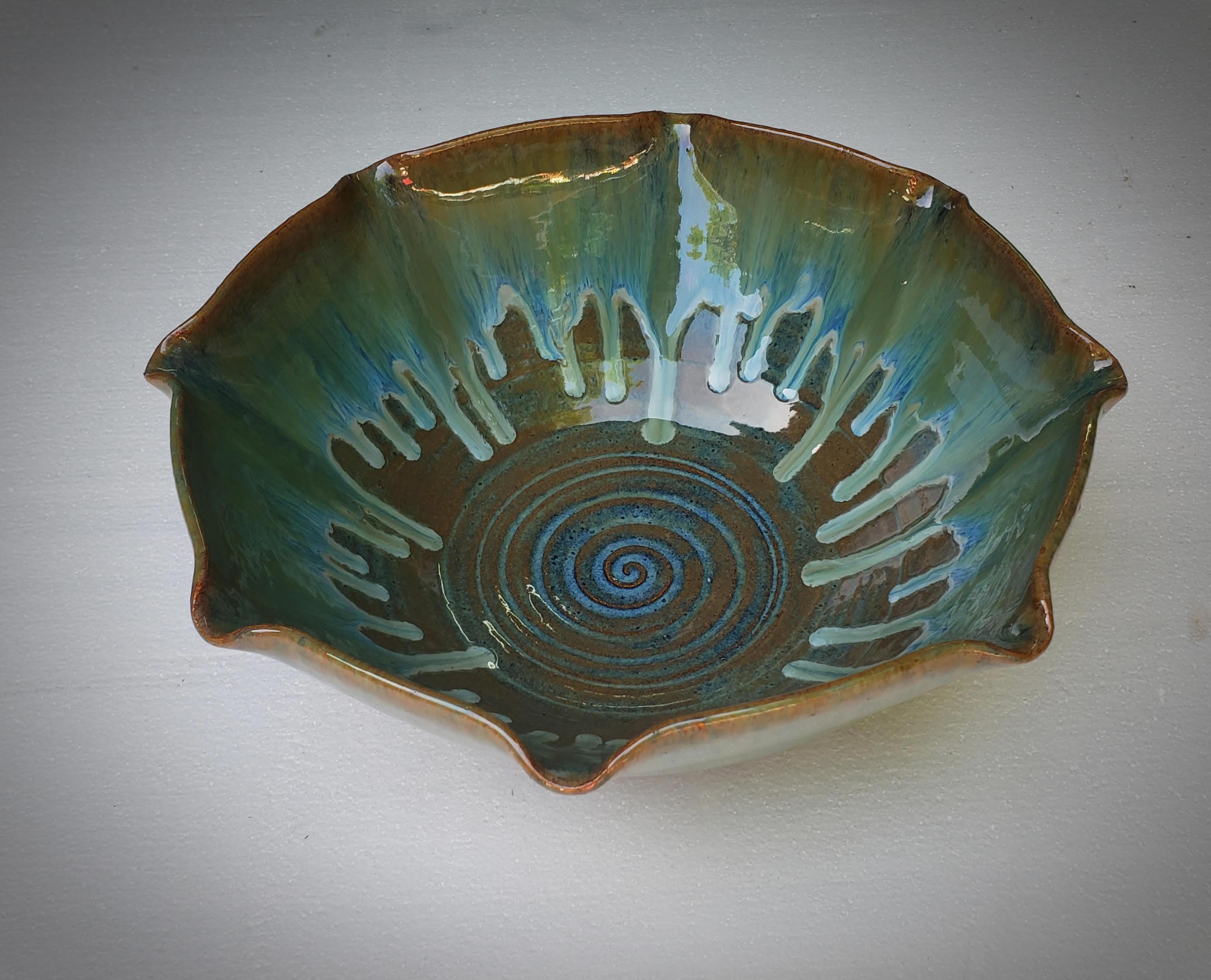 Blue Fluted Serving Bowl #4