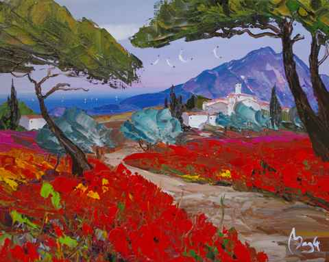 Red Flower Road by  Louis  Magre - Masterpiece Online