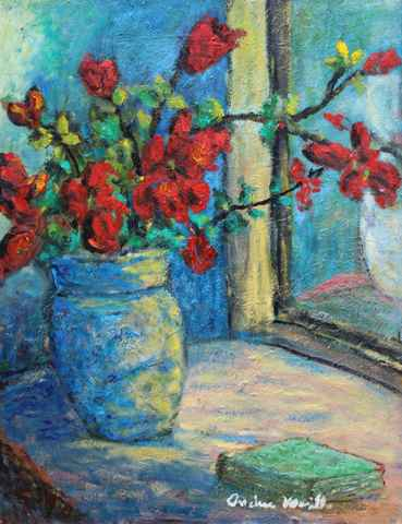 Red Flowers in a Vase by  Andres  Morillo - Masterpiece Online