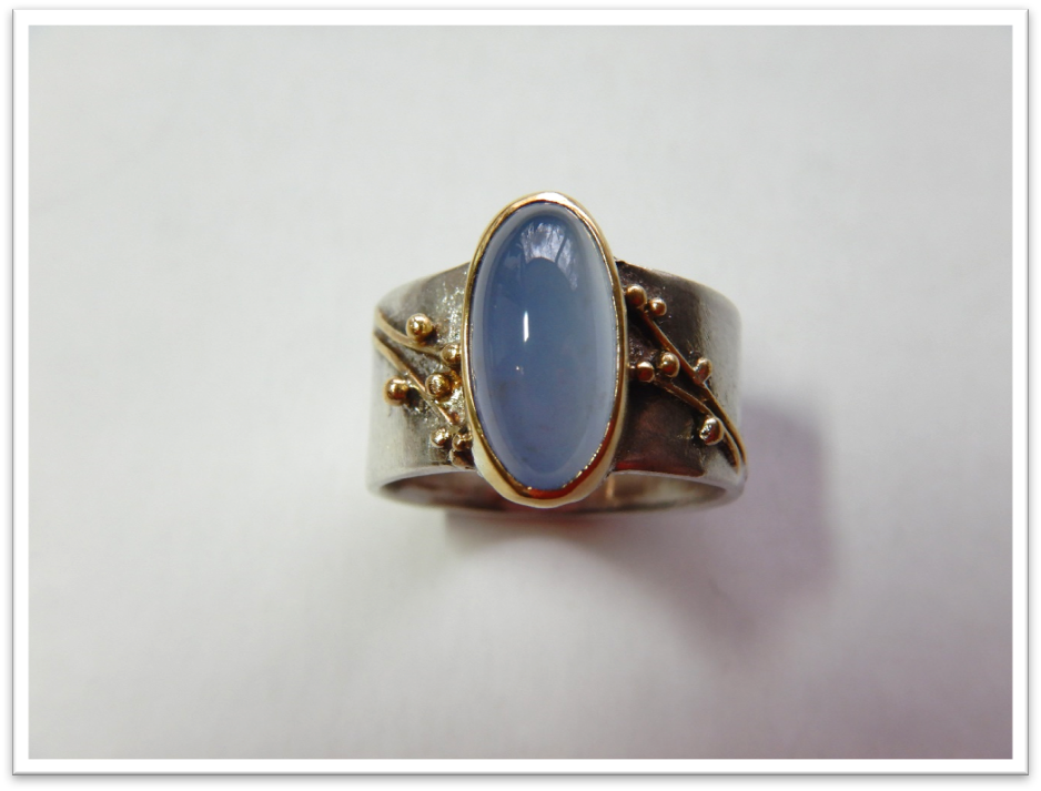 Botany Oval Blue Chalcedony, Sterling and 22k Ring Size 7