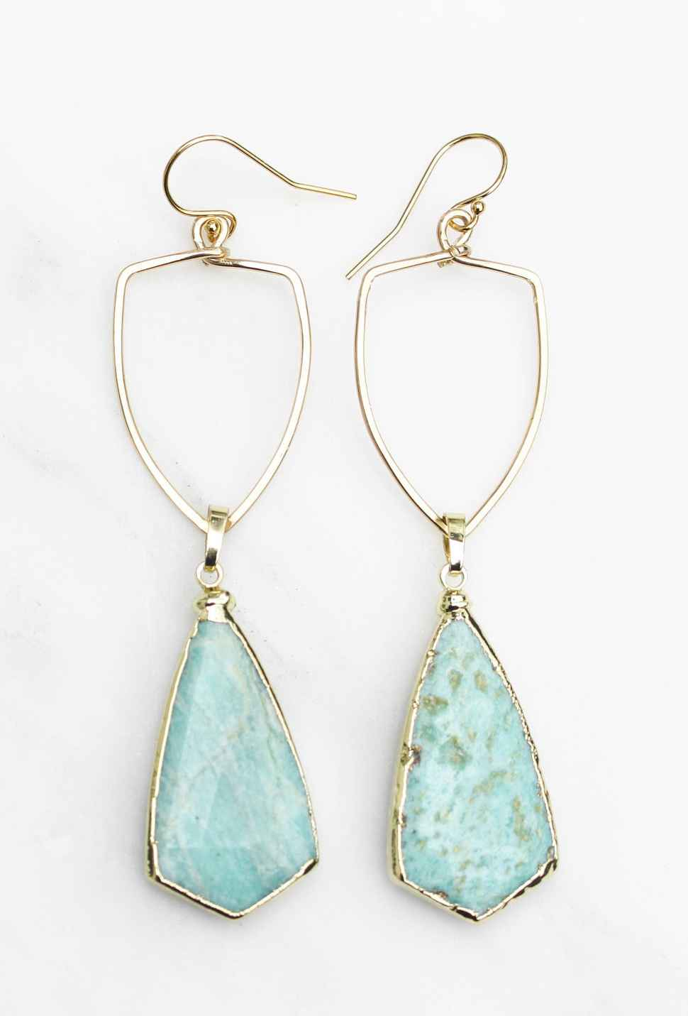 Amazonite Large Shield Pendant Earring Gold