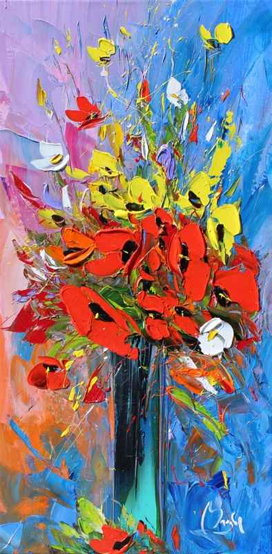 Yellow & Red Poppies by  Louis  Magre - Masterpiece Online