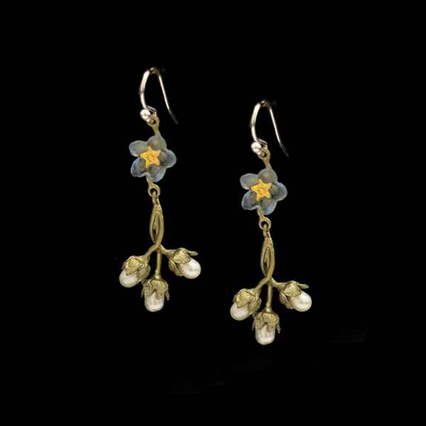 Forget Me Not Single Flower & Pearl Dangle Wire Earrings