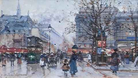 Paris Street in the R... by  E. Galien Laloue  - Masterpiece Online