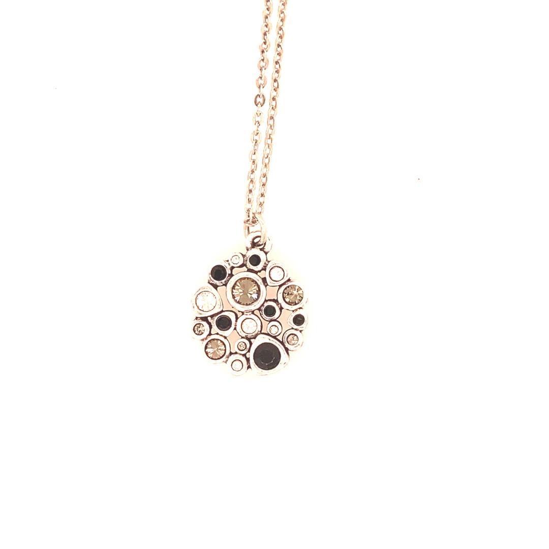Popcorn Necklace in Silver, Black & White