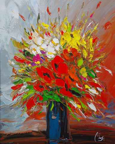 Blue Vase with Poppies by  Louis  Magre - Masterpiece Online