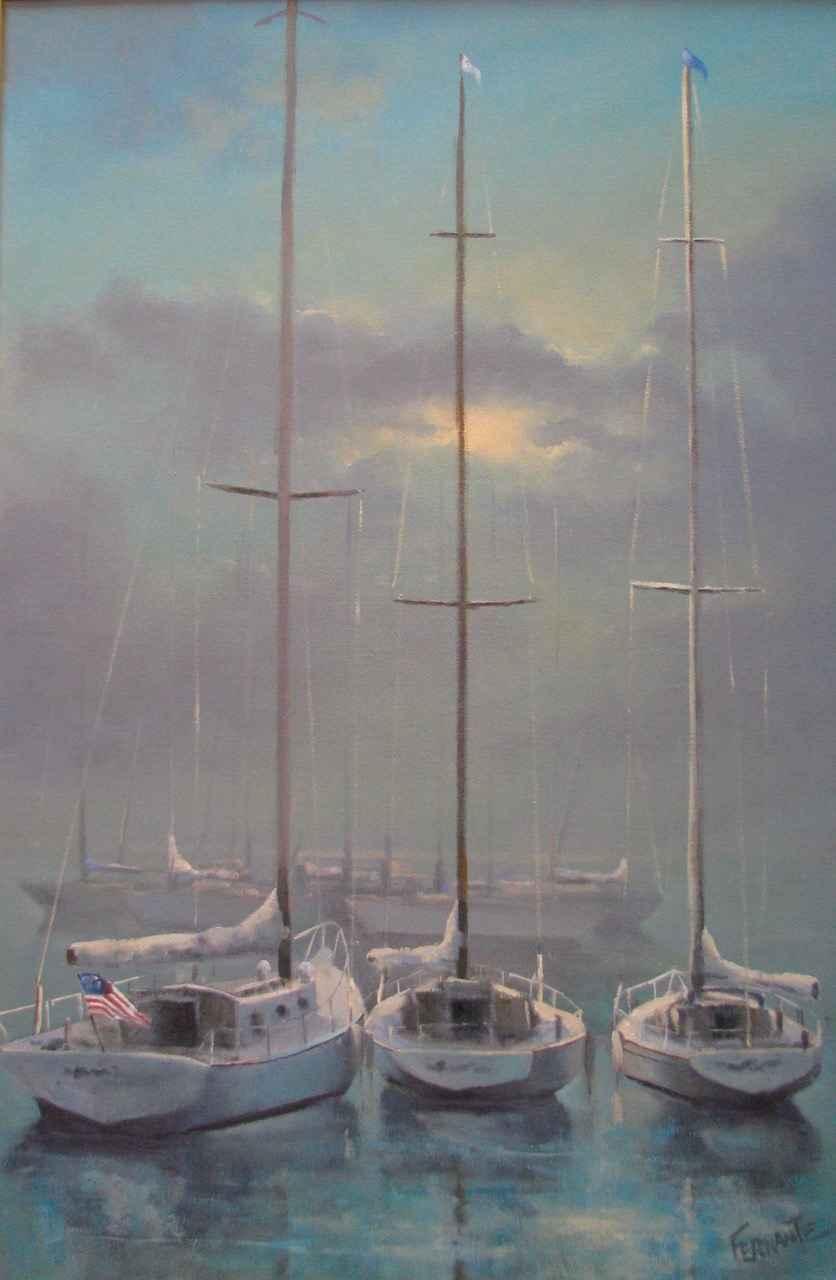 Boats in Fog by  Frank Ferrante - Masterpiece Online
