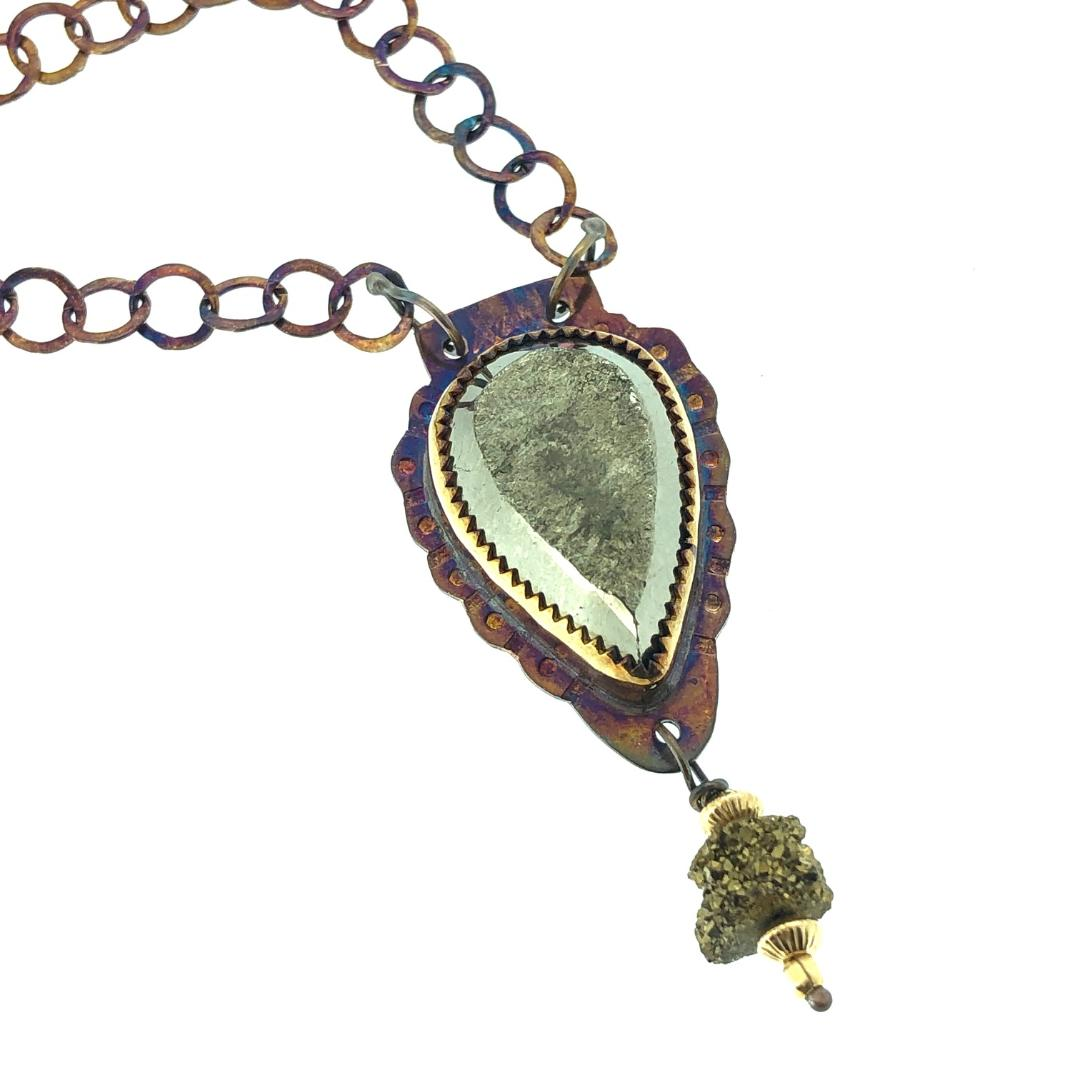 Natural Surface Pyrite with Stalactite Slice Druzy Bead Necklace 19