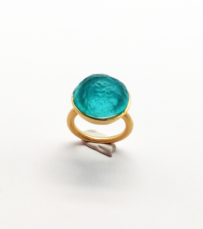 Sol-Single Stone Ring in Teal Size 8