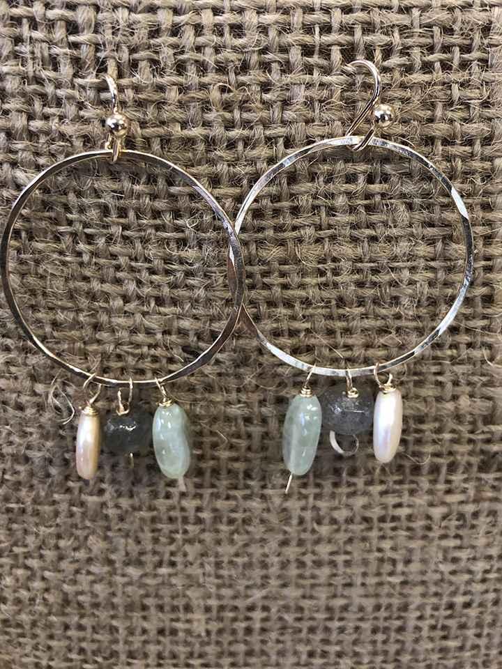 Mixed Gemstone Hoops