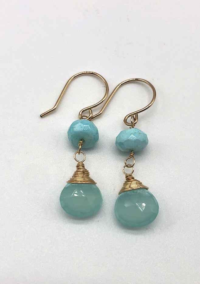 Blue Opal Rondelles and Chalcedony Drop Earrings