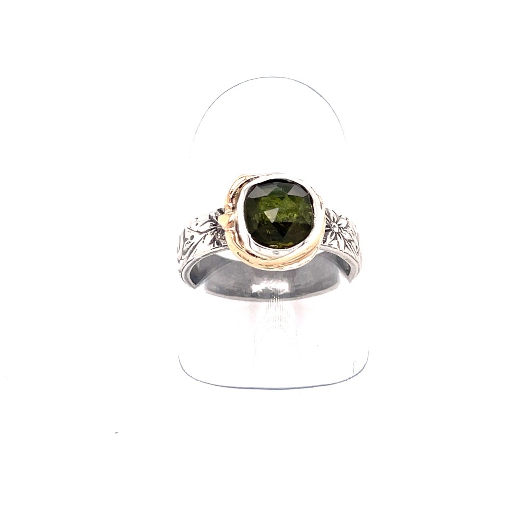 Green Tourmaline Ring With 14K Pattern Shank, Size 7.5