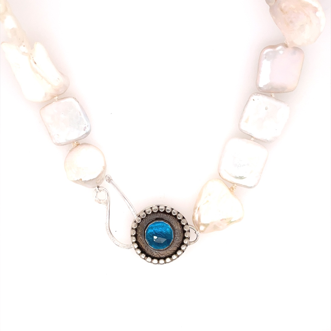 Long Baroque Pearl Necklace with Hand Fabricated Clasp