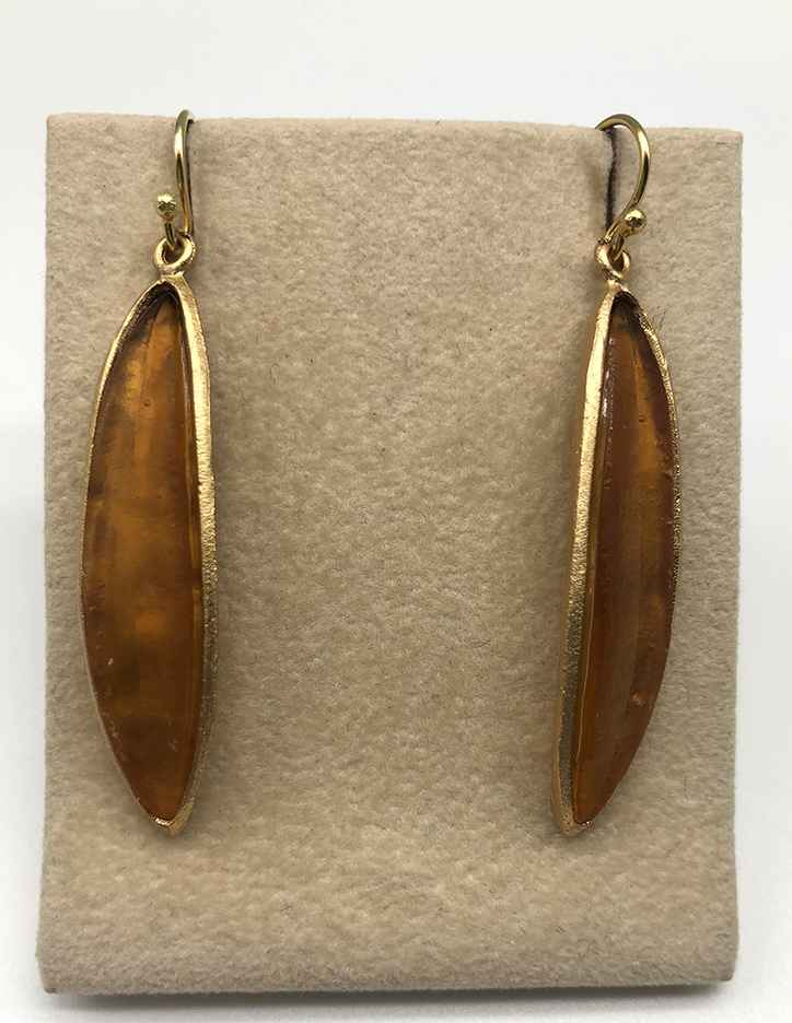 Long Leaf Wire Earring in Brown 2