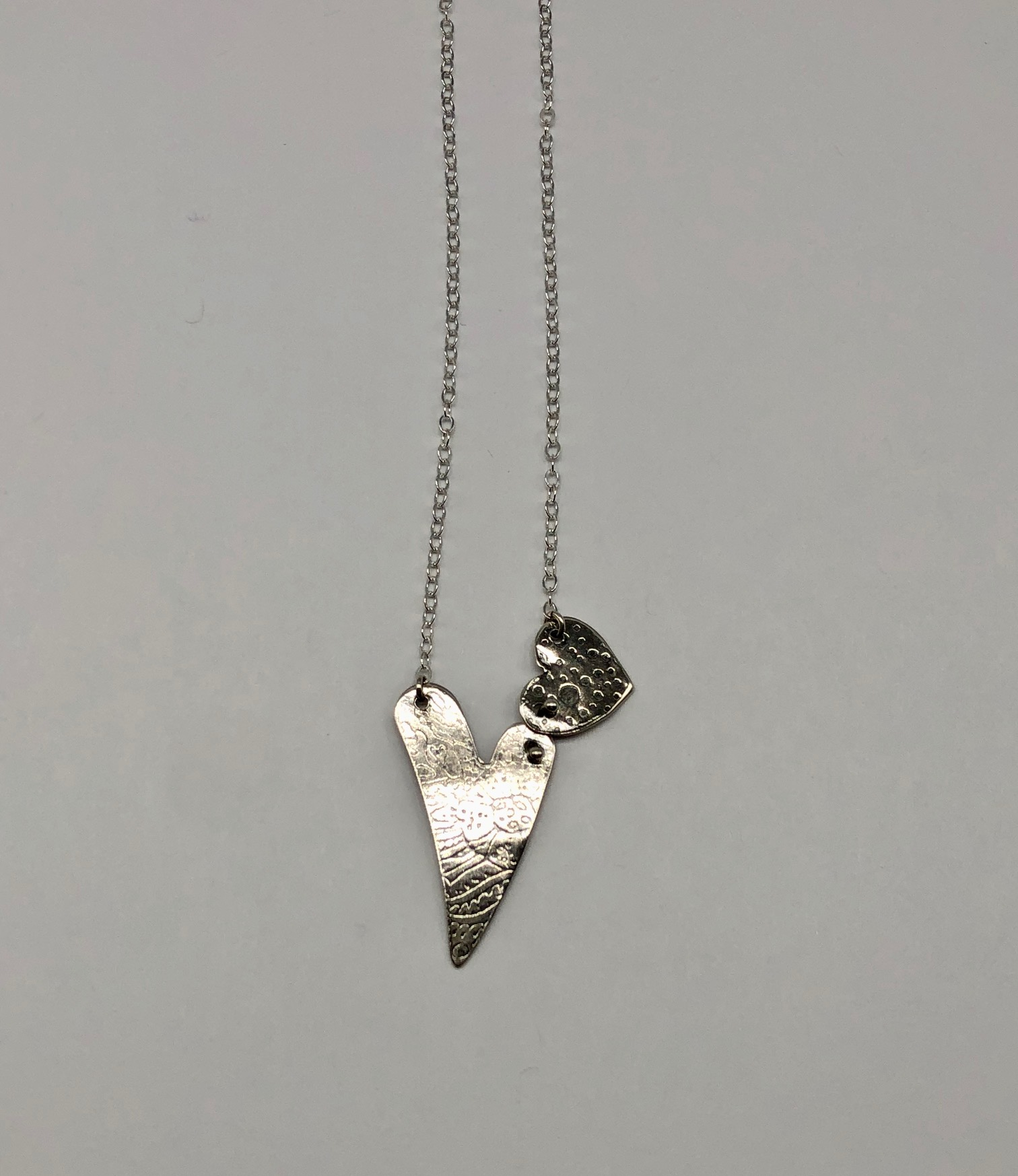 Sterling Double Heart Necklace 18