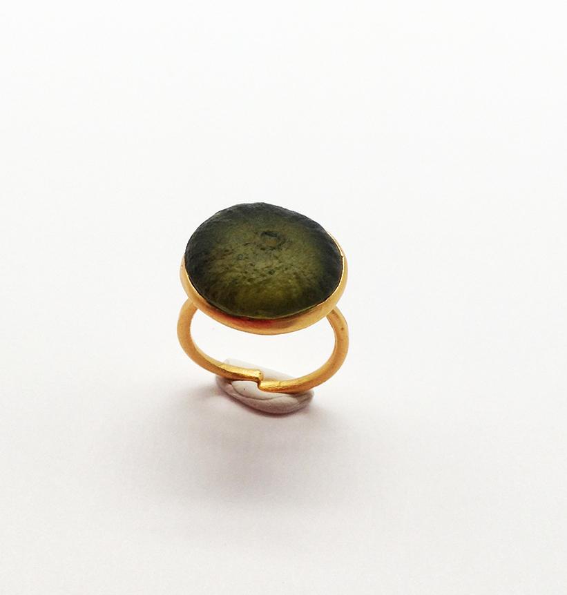 Sea Urchin Ring in Bottle Green Size 6.5