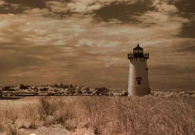 Edgartown Light in Be... by  Debra M. Gaines - Masterpiece Online