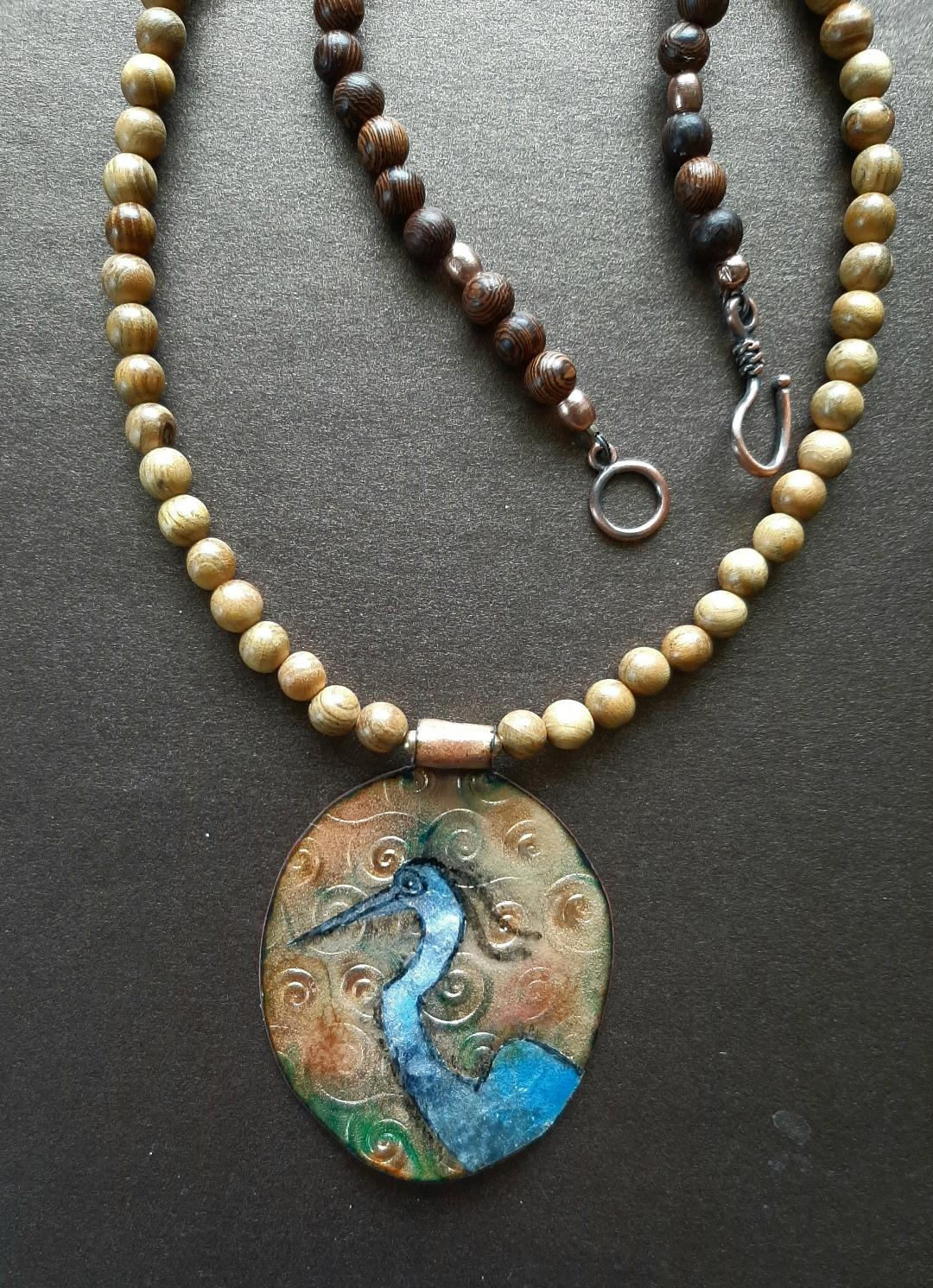 Blue Heron Necklace with Copper Enamel