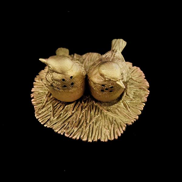Kirtland Warbler Salt and Pepper Shakers, Antique Bronze