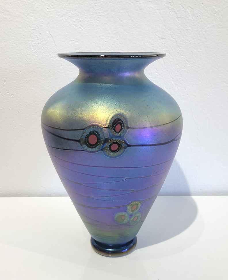Blue Arts and Crafts Vase 10 1/2